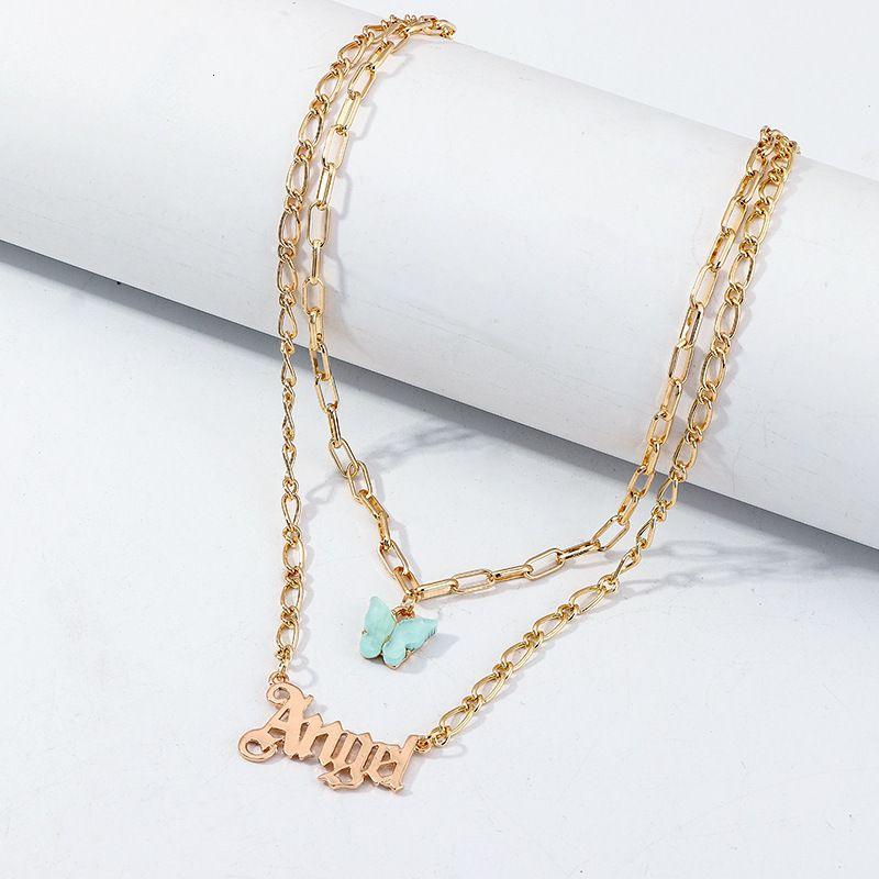 multistrato acrilico a farfalla a farfalla catene d'oro catene angelo collane ciondolo donne collana gioielli moda gioielli e sabbioso