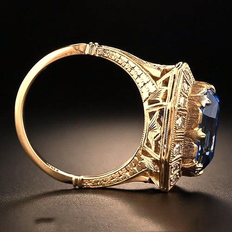 Anillo de diamante de la princesa de topaz azul con anillo de compromiso de oro amarillo de 18k para las mujeres anillo de joyería de regalo