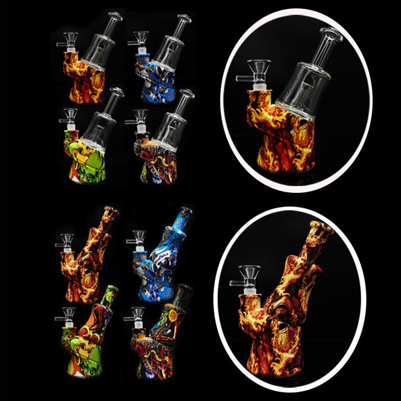 2020 yeni baskılı cam bong silikon bong su borusu ile / cam aksesuarları olmadan renkli sigara cam su boruları