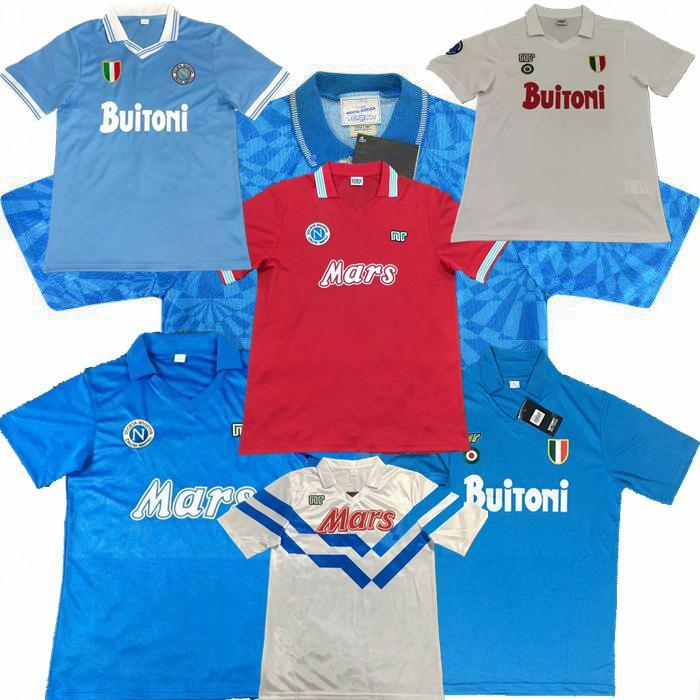 Retro Classic 1986 1987 1988 1989 1991 1993 1993 Napoli Soccer Jersey 87/88/89 91/93 Camisa de Futebol de Maradona S-2XL