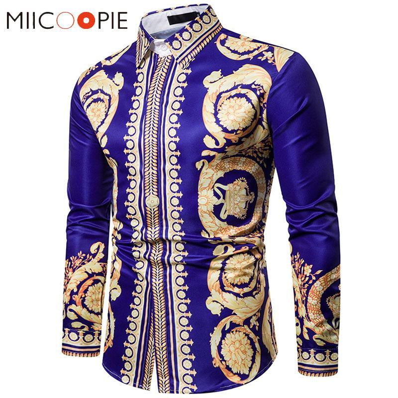 Chemise florale de luxe Hommes Royal Crown Imprimer Hommes Chemises Casual Slim Fit Camisa Blue Blue Baroque Chemises officielles pour hommes 3XL C1215