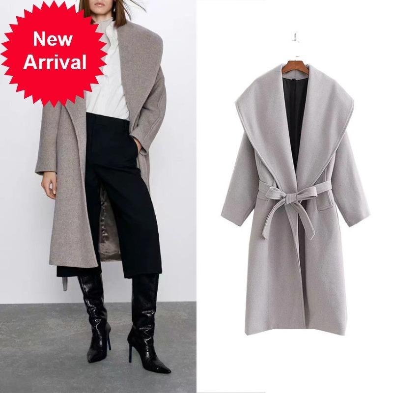 Abrigo de lana de las mujeres Invierno Beige elegante lana mezcla casual simple simple solapa alta cintura encaje camello gran tamaño ropa exterior