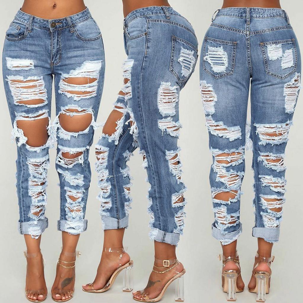 Seksi Delik Erkek Arkadaşı Kot Kadınlar Yüksek Bel Elastik Yırtık Anne Jeans Streetwear Ince Denim Kalem Pantolon Bayanlar Sıska Pantolon C1123