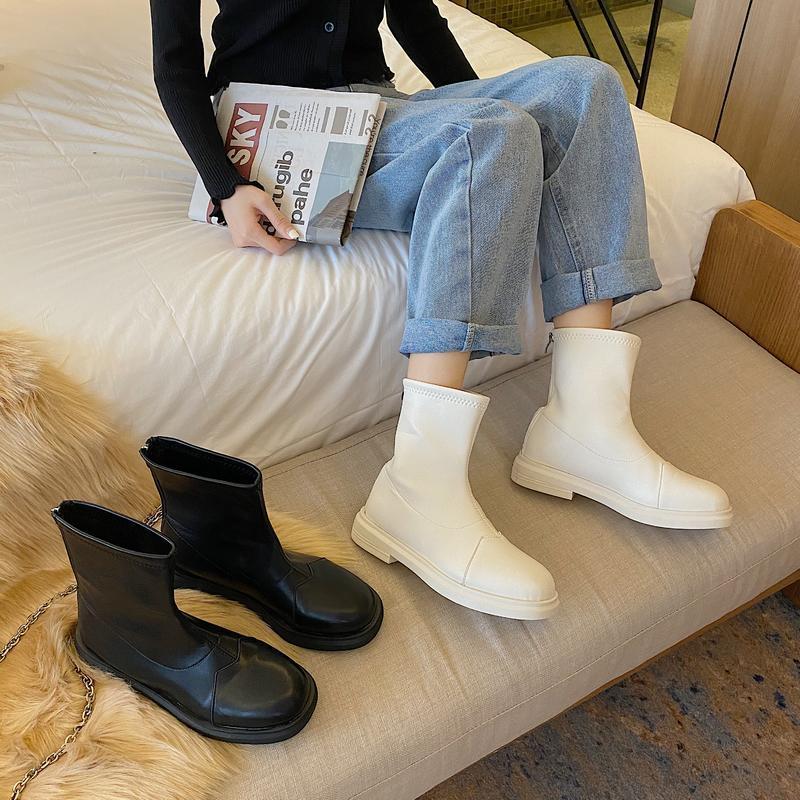 Плоская каблука леди сапоги обувь круглый носок роскошный дизайнер низкий рок середина теленка мода резиновая осень середина теленка шнурок хлопок