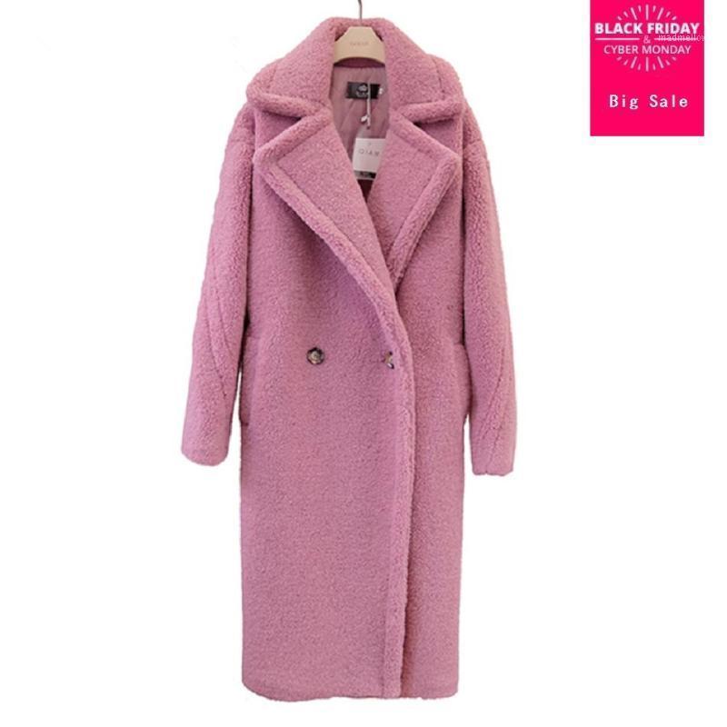 2020 Winter Fashion Chaqueta de mujer Abrigo de peluche Piel de imitación Piel larga Abrigo Femenino Cordero Piel Doble Breasted Fake Outwear L16841