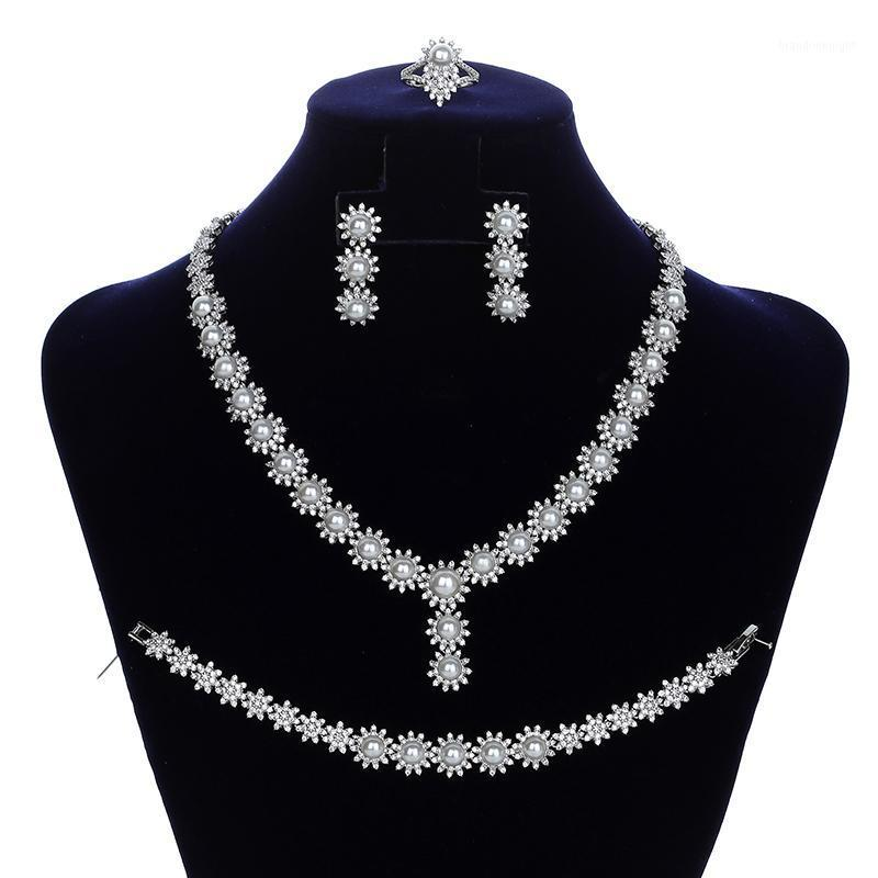 Jewelry Sets HADIYANA Flower And Pearl Necklace Earrings Ring And Bracelet Set Wedding Jewelry Zircon CNY0113 Conjunto de joyas1