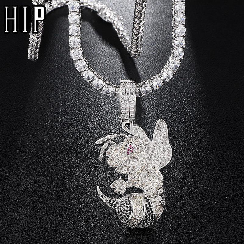 Hip-Hop Euro-Bling Cubic Zirkon CZ Bohnen-Halsketten Anhänger für Männer Schmuck mit Tenniskette Y1130
