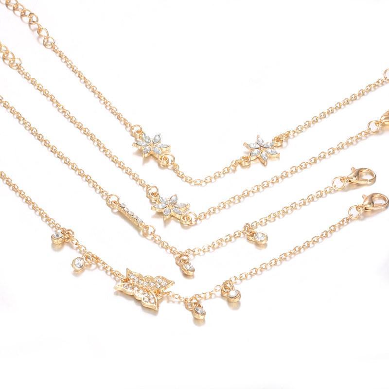 4 stücke / set frauen mode gold kristall schmetterling blume armband set charme trendige armbänder für frauen schmuck
