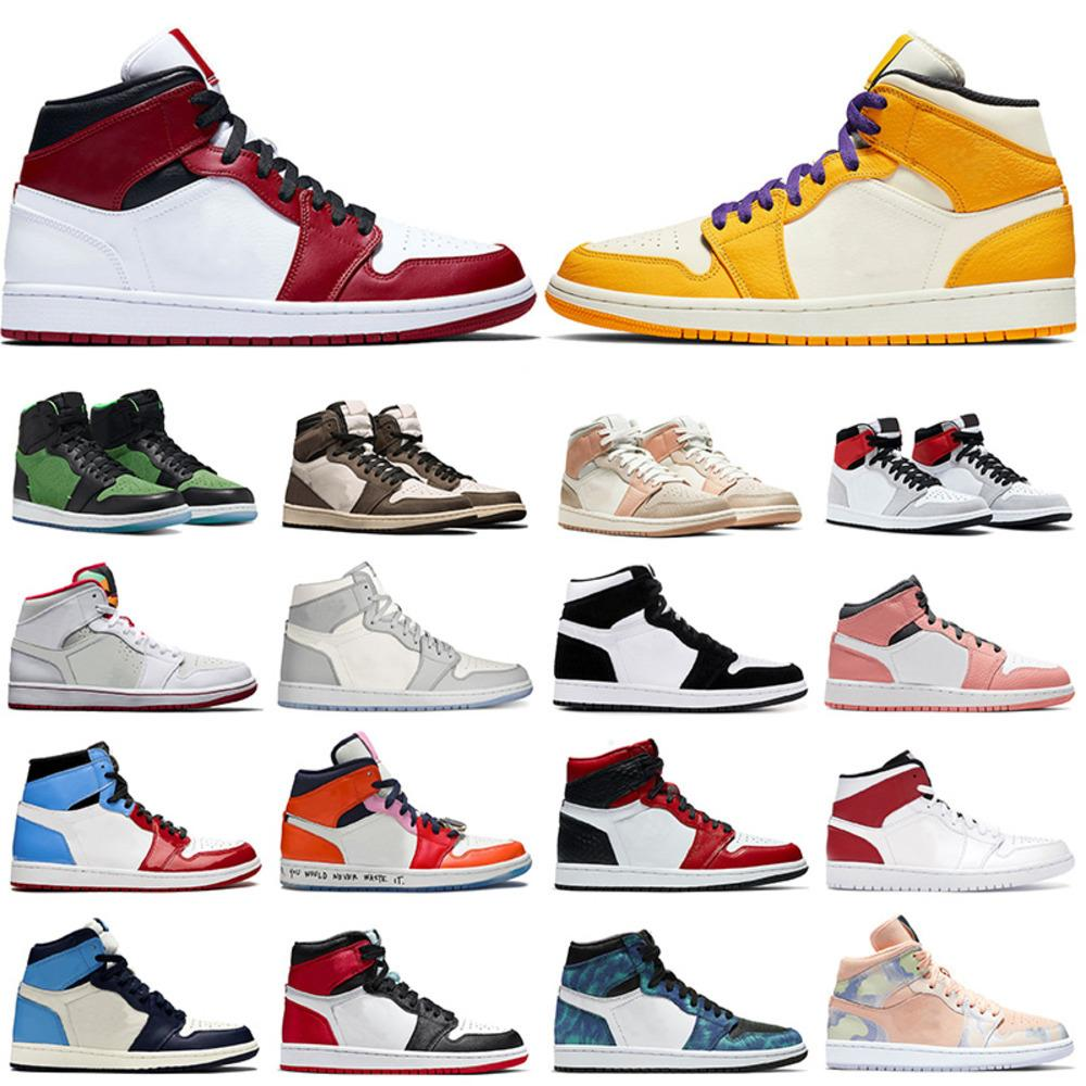 Chicago Hot Selling Hommes Basketball Chaussures 1 1S Mid Lakers Jumpan jaune Travis Scotts Milan Milan Femmes Dio Sneakers Baskets en or blanc noir