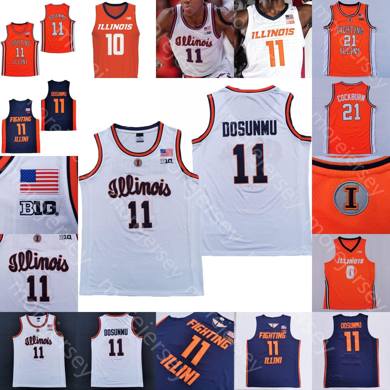 2020 Illinois combattre l'Illini Basketball Jersey NCAA College Ayo Dosunmu Kofi Cockburn Trent Frazier Da'monte Williams Miller Curbelo Feliz