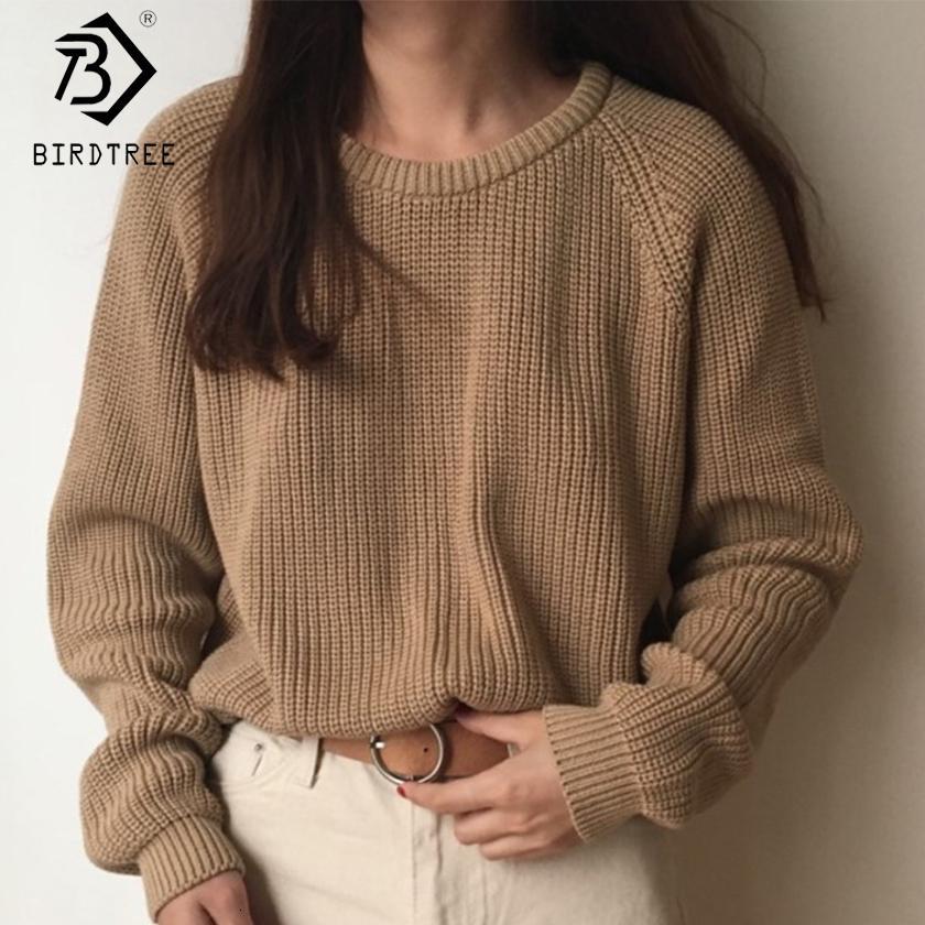 Moda coreana senhoras manga completa mulheres tricô sólido o-pescoço pulôver e jumper sweater solto venda quente s80209q