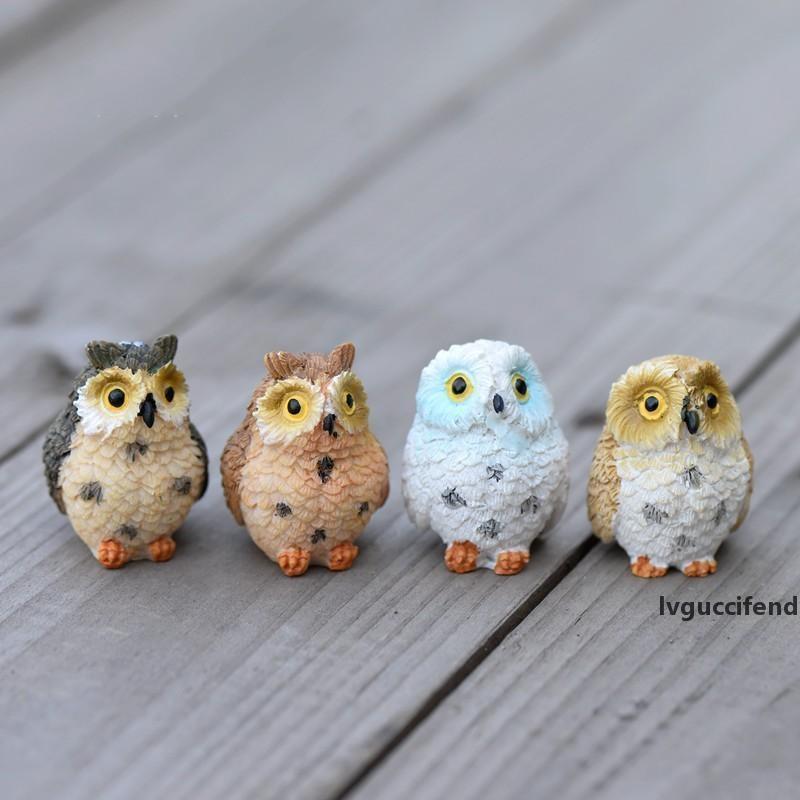 Moss Lichen Micro Paysage Originalité Plantation Vert résine Mini nu cadeau Pieds Owl Décoration Accessoires Ornement Prop 1 6cj ff