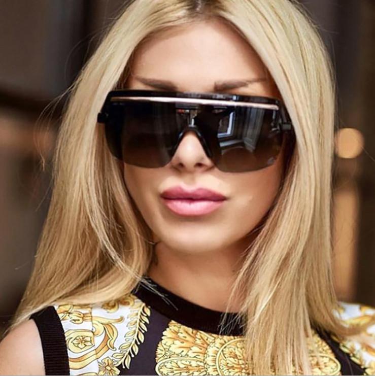 5 moldura de qualidade do oceano fino dourado Quadro de encantamento de uma lente de personalidade da mulher por atacado Óculos de sol Mens de uma peça de sobrancelha óculos de fábrica de sobrancelha Lohm