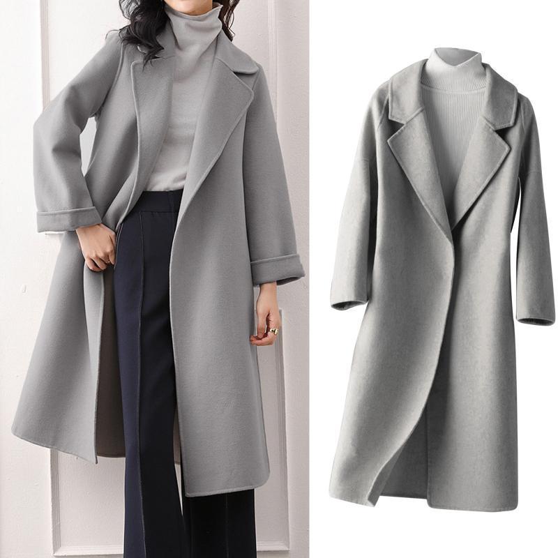 Офисные моды женщины теплые твердые карманы с двумя сторонами шерстяной длинной куртки Верхняя одежда Осеннее пальто Женский костюмы Mujer Chaquea # T2G