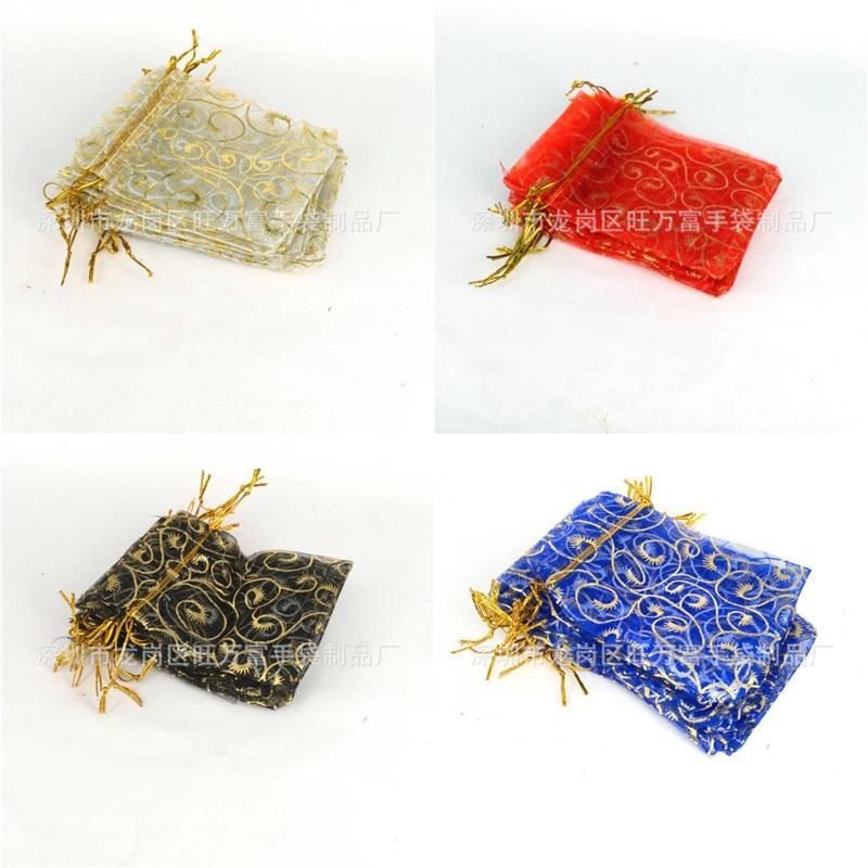 التذهيب 9 * 12 أكياس الرباط منحني الرموش اللؤلؤ الشاش شبكة هدية التعبئة الثلوج الشاش حقيبة المرأة كيد المجوهرات الحقائب 0 15ww m2