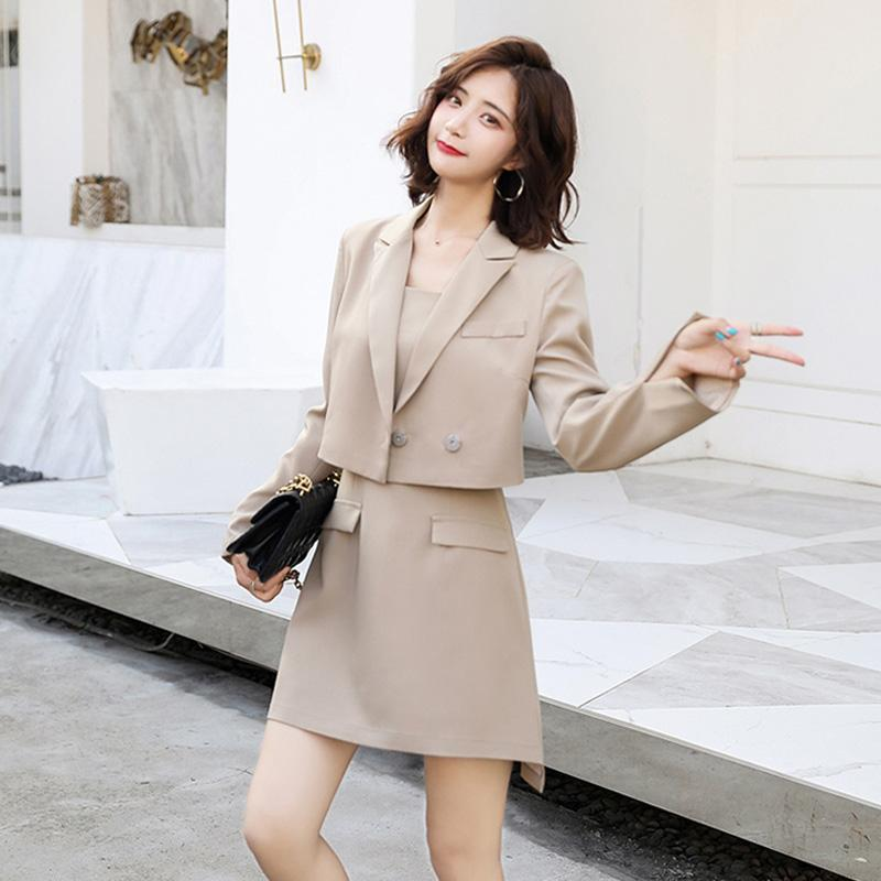 Large Size Women's Autumn New Small Suit + Waist Suspender Skirt Casual Two-piece Sets Female