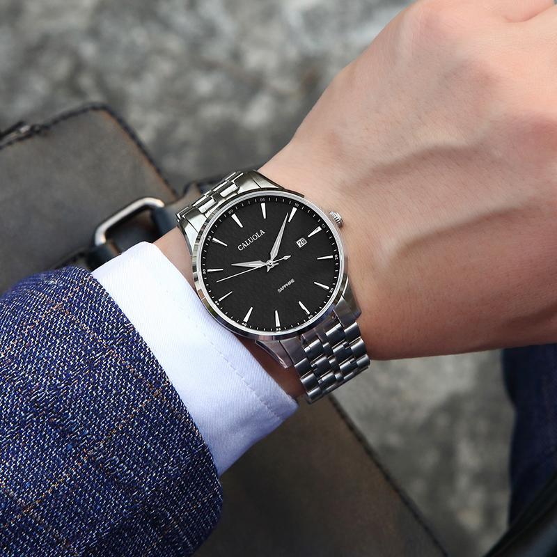Caluola Спортивные часы Мужские Механические Часы Полноавтоматическая Водонепроницаемая Натуральная Кожа Топ-десять Имя Известный бренд Аутентичные Мужские Часы