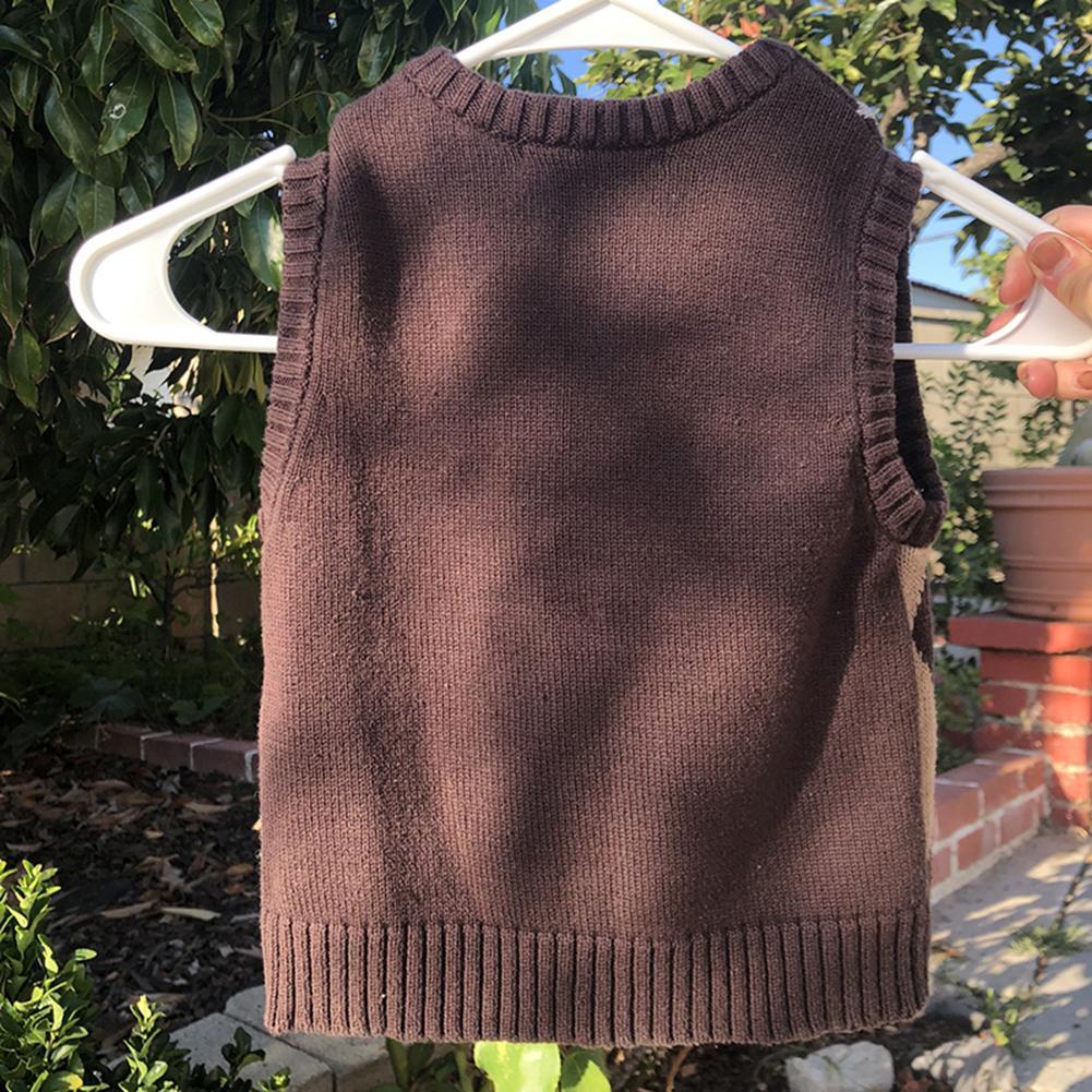 Brown Argyle Vintage Y2K Обрезанный свитер Жилет осенью без рукавов вязаный пуловер Preppy стиль вскользь клетчатка трикотаж 90-х