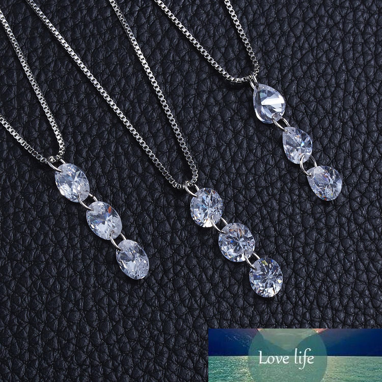 Серебряное цветное ожерелье Waterdrop CZ Crystal Zircon Камень кулон Ожерелье Ювелирные Изделия Женщины Свадебные Свадебные Колларе Ожерелья 47см