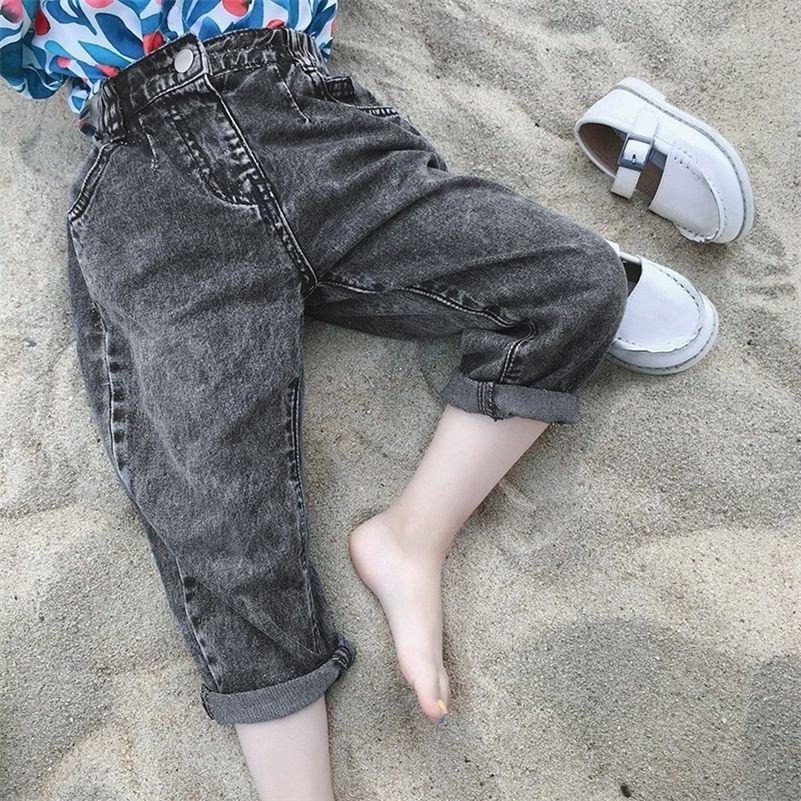 Estilo coreano moda meninos casuais jeans preto crianças crianças todos combinados de calças de denim soltas 201027