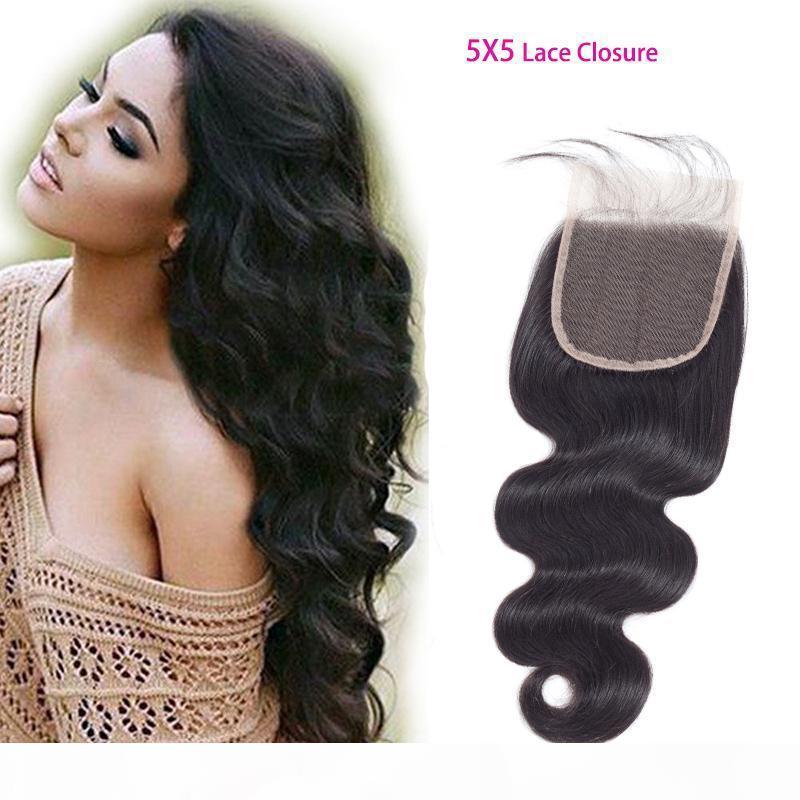Indische Jungfrau-Haar 5x5-Spitze-Verschluss mit Babyhaar-Nerz-Körperwelle fünf von fünf Verschlusshaar-Produkten 8-20inch