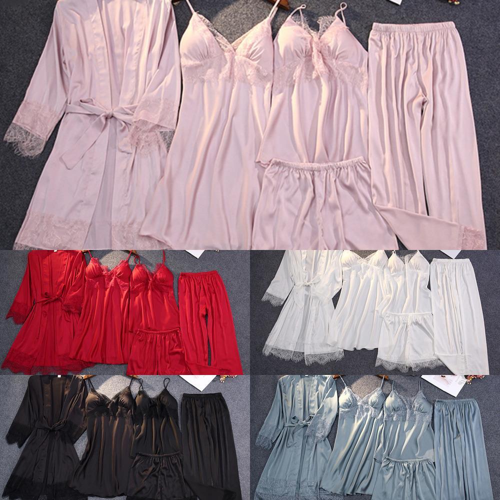 2020 Bahar Yaz Kadın Pijamas Dantel Katı Pijama Ile Zarif Gevşek Ince Gecelikler Kadın Casuam Homewear Nightgown H1211