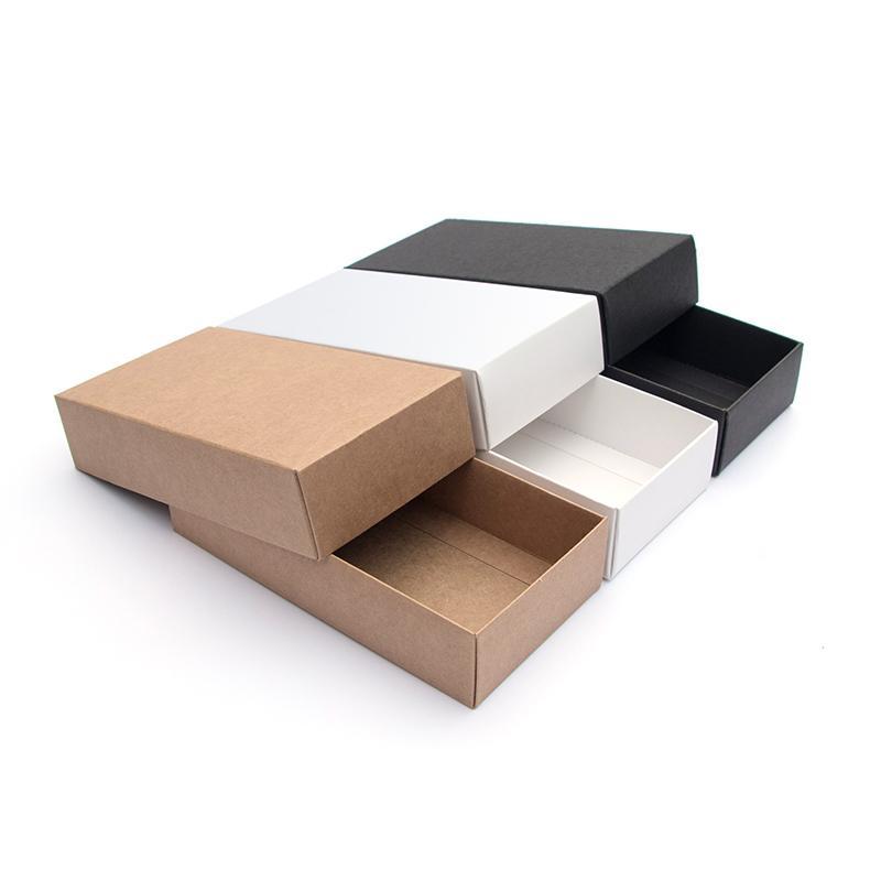 10 adet / Kraft Kağıt Hediye Kutusu Festivali Parti Zarif Boş Karton Beyaz Siyah Kart Paketleme Kutusu Karton Destekleyici Yazdırma Y1121