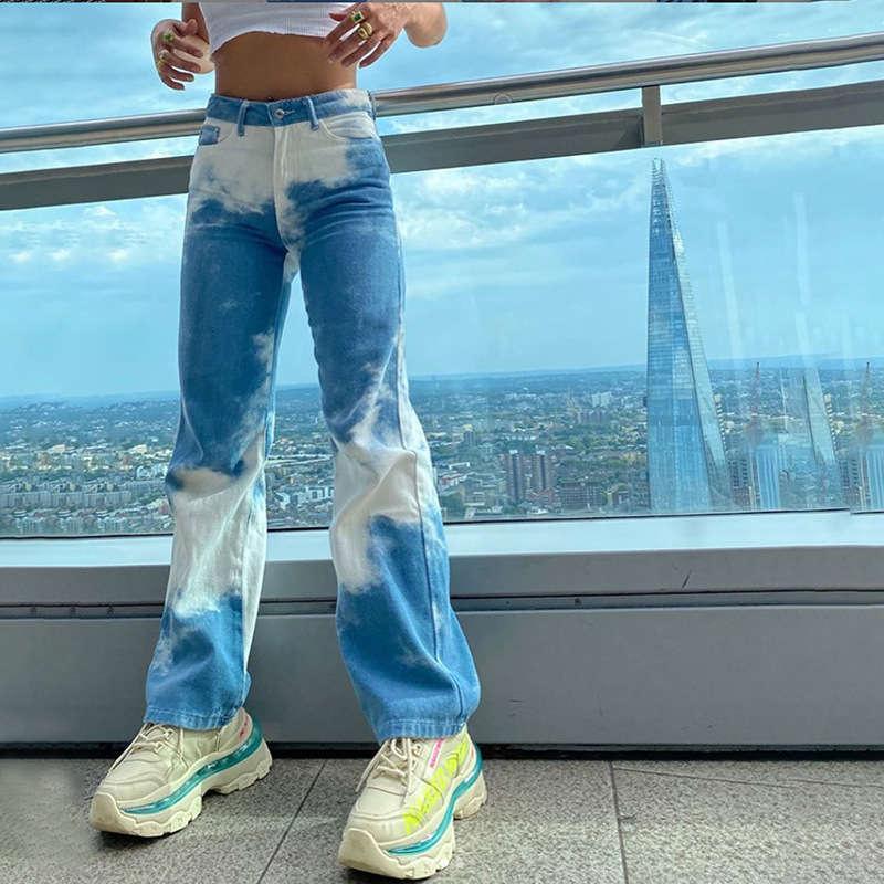 VENT 2020 Automne Fashion Nouveau Femme Slim Slim Contraste Pantalon lâche Jeans occasionnels
