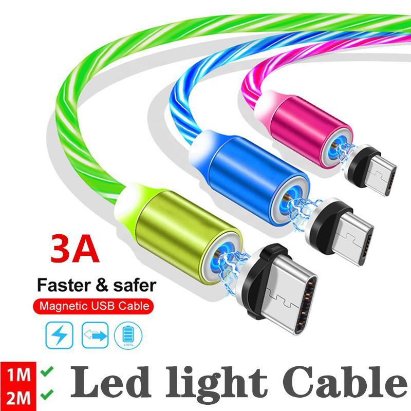 3.3FT / 6FT 3A Светодиодное свечение, текущее магнитное зарядное устройство кабель микро Тип C кабель Samsung Android светящийся магнит зарядки проволоки с помощью OPP