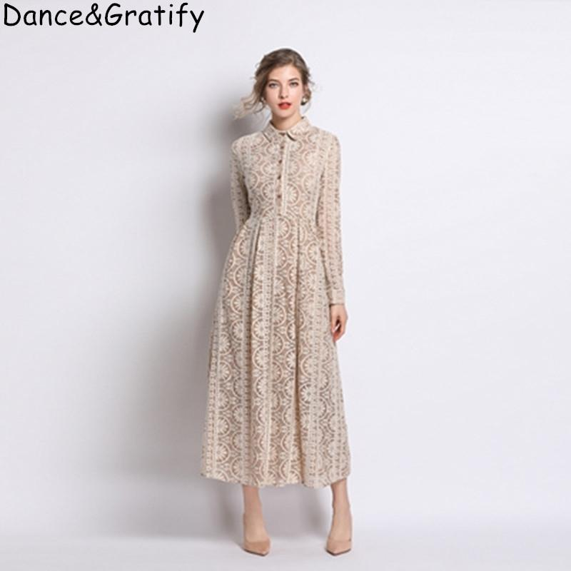 Vestido casual de alta calidad Hallow Out Out Out New Women's Rurn-Down Colllar Big Swing Long Maxi Party Dress 201204