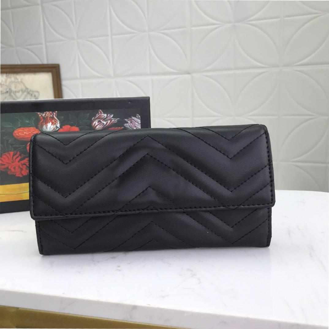 Caja de calidad luxurys high wallet monedero clásico largo monederos bolsos marmont mujer diseños de polvo embrague titular de la tarjeta acolchada Monedero de moda Kags