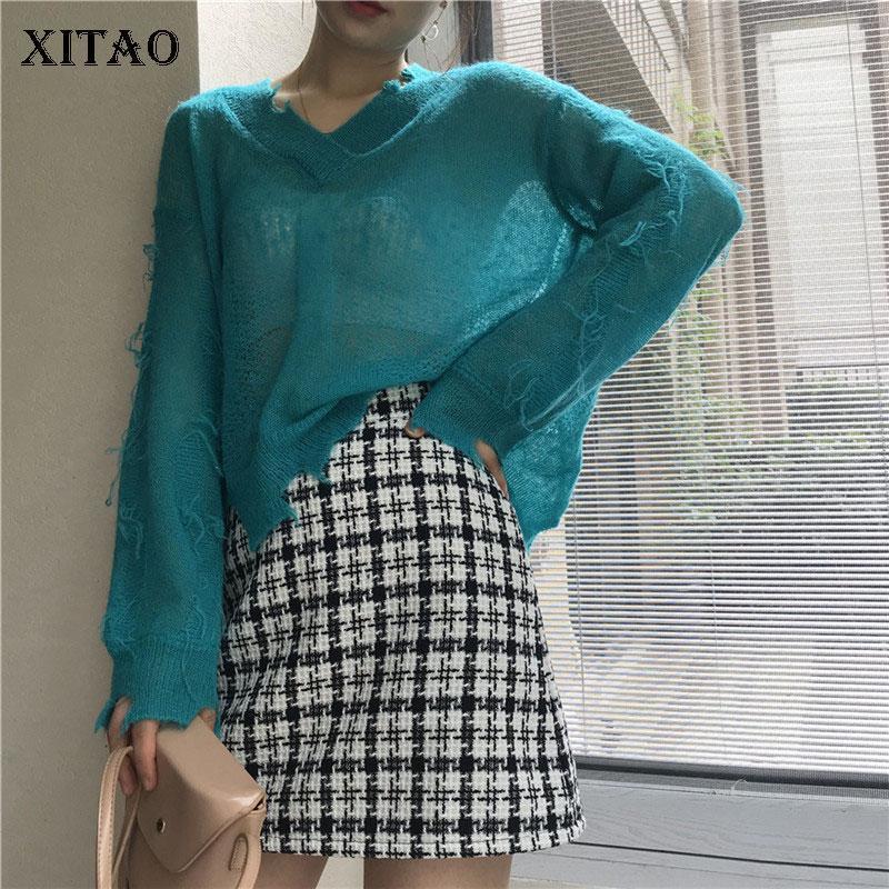 Женские свитера Xitao Осень для женщин Свободные V-образным вырезом тонкий разрез пуловер плюс размер моды трикотажная одежда 2021 WJ13181