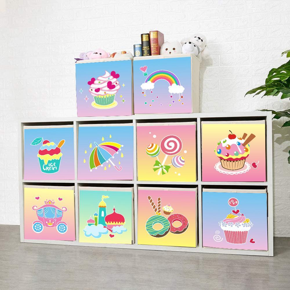 2020 New Foldable Ice Cream Theme Cube Storage Box Fabric Toy Bins Chest Organizer for Kids Nursery 13 inch Z1123