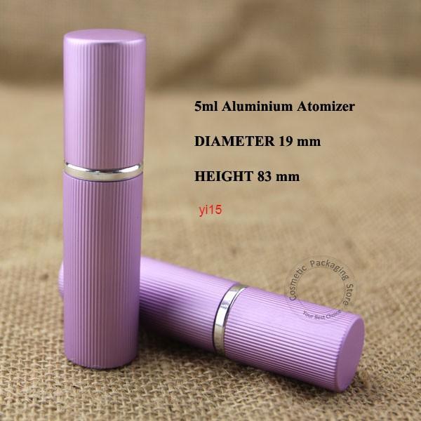 20 adet / grup Toptan 5 ml Alüminyum Cam Parfüm 1/6 oz Şişe Mini Atomizer Sprey Konteyner Küçük Kadınlar Kozmetik Sıvı PaketlemeGiydi Qualitt