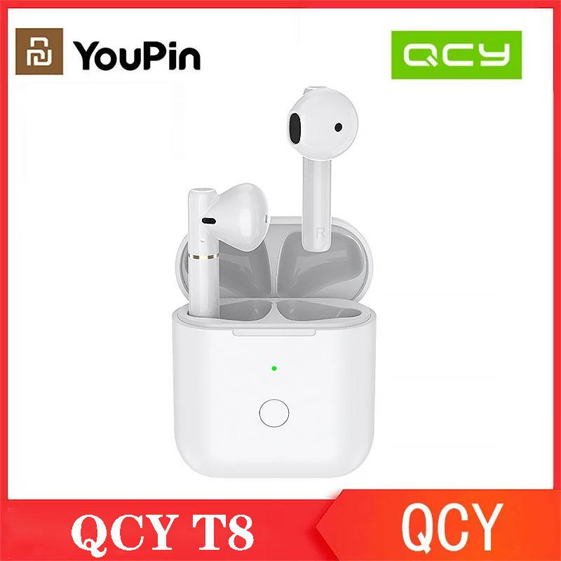 wholesale YouPin New QCY T8 Wireless Earphones In-ear Bluetooth 5.1 TWS Sports Earphone Dual Connection Headset With Microphone