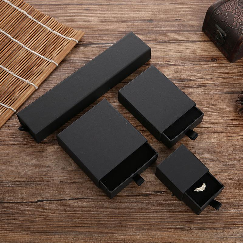 Cajón joyería caja de regalo negro elegante collar caja papel sólido cajón anillo anillo pulsera collar regalo caja de envoltura EEE28
