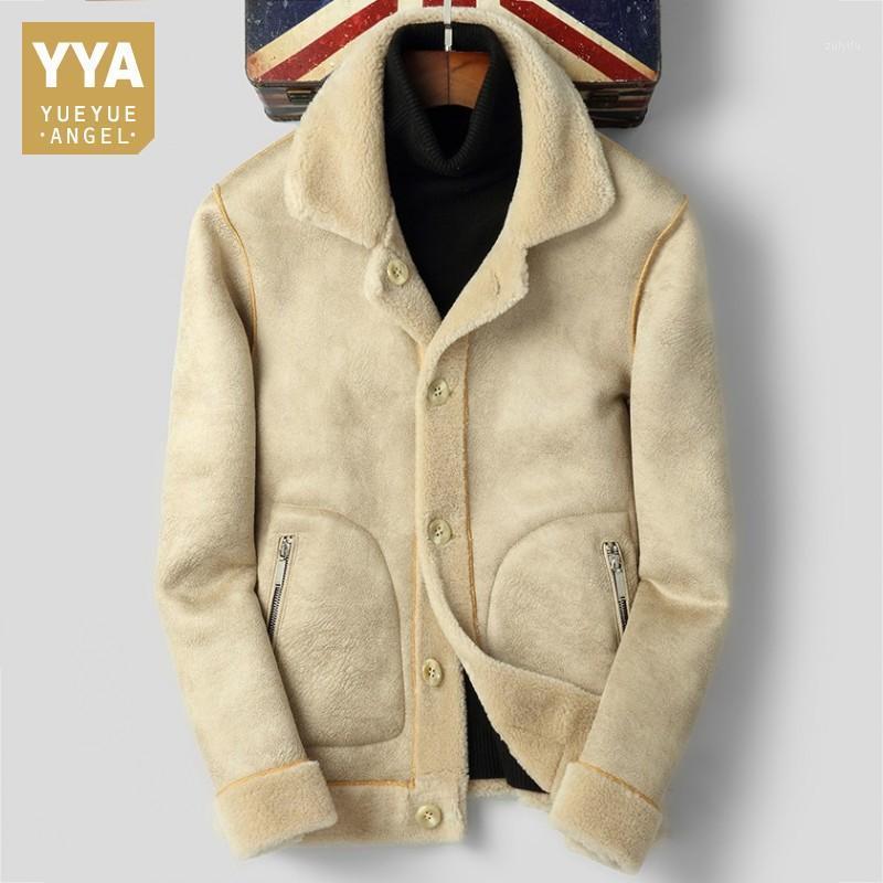 2019 Kış Shearling Erkek Gerçek Kürk Ceket Koyun Hakiki Deri Kalın Sıcak Palto Ofis Adam Ince Kuzu Yün Dış Giyim Coat1
