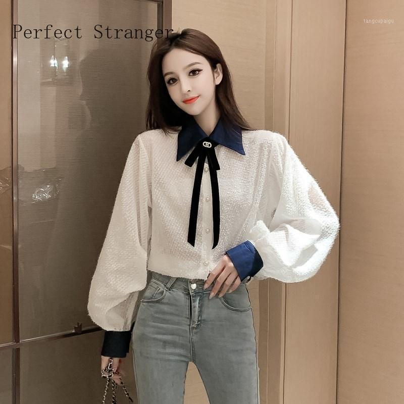 2020 AutumnNew Arrival Hot Sale Bow Collar Long Sleeve Women Chiffon Blouse High Quality1
