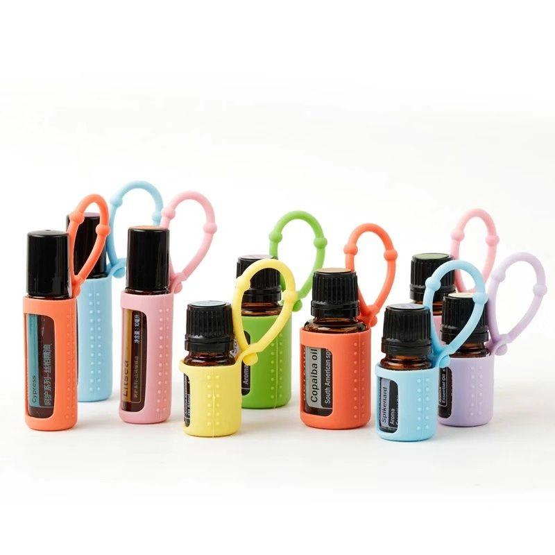 Силиконовый эфирный масло держатель чехол 5 мл / 10 мл / 15 мл защитника бутылки для бутылки защитная крышка висит держатель организатора для путешествий