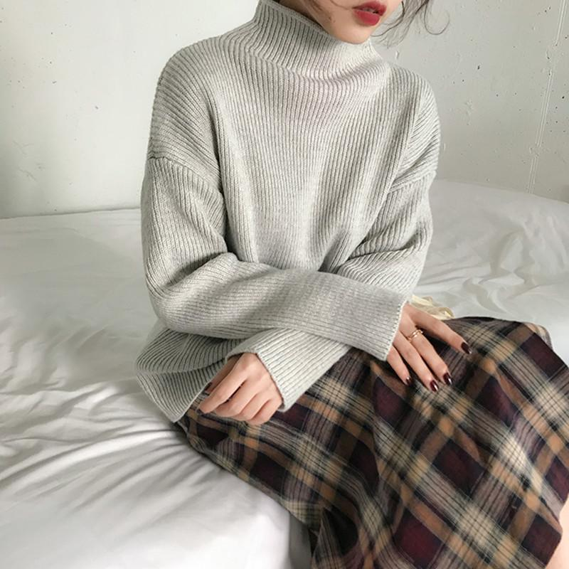5 Цвета Осенью и Зимний Стиль Breif Стиль Сплошной Цвета Туртлена Теплые свитеры и пуловеры Женщины (F1311) 200924