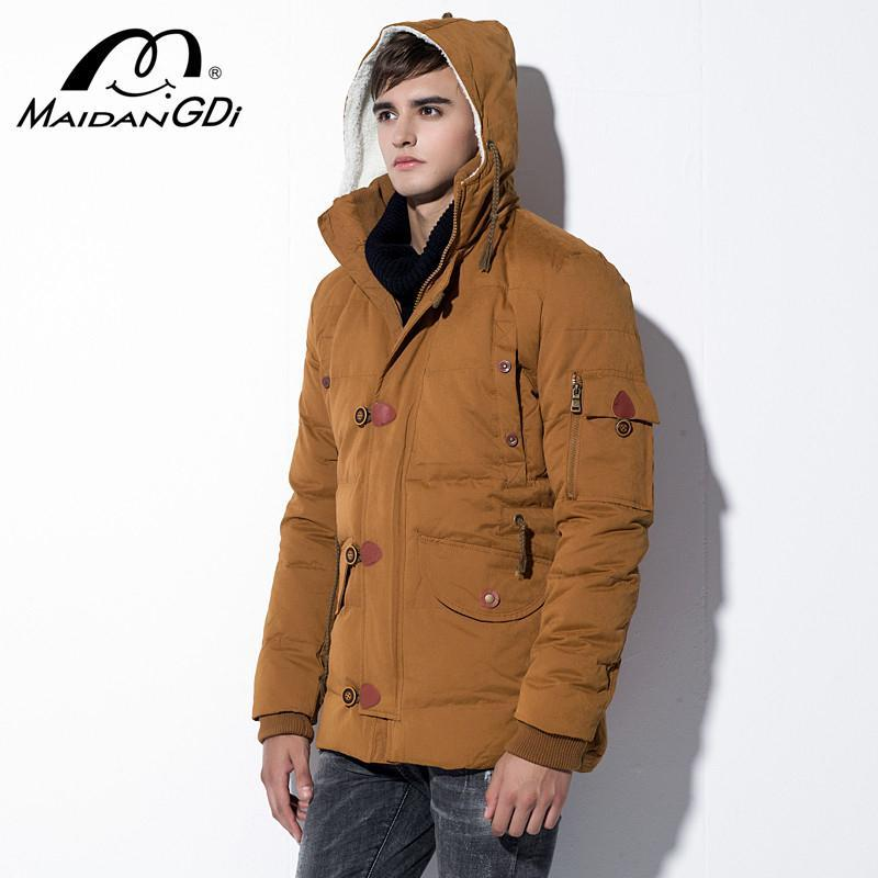 MAIDANGDI Men's Down Jackets 2020 Winter New Teenager Multi-pocket Hooded Solid Color Streetwear Thick Warm Windproof Clothes