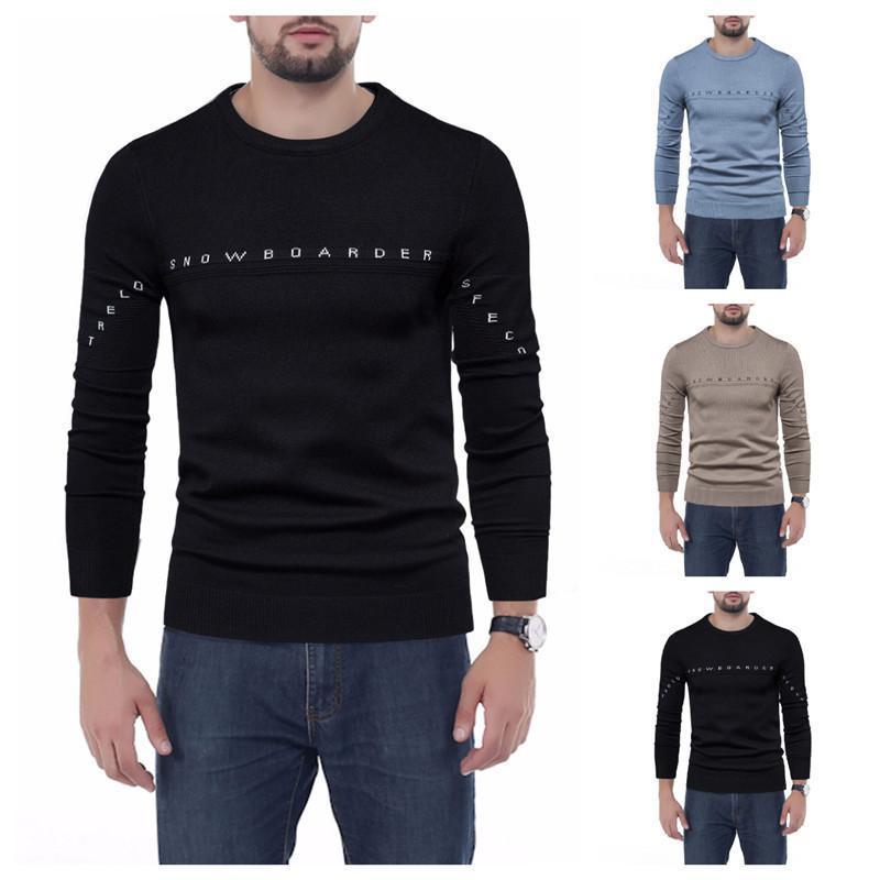 Мужские свитера европейские и америки стиль свитер шерсть вязание растягивающие уплотнительные шеи с длинным рукавом теплые мягкие повседневные модные мужские пуловер