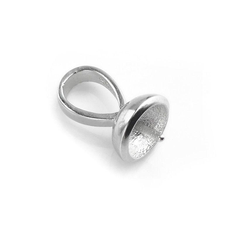 Pendente BAIL 7mm Coppa con PEG 925 Sterling Silver Recondings Pendants Berretti perline Caps Pearl Cauzione 10 pezzi
