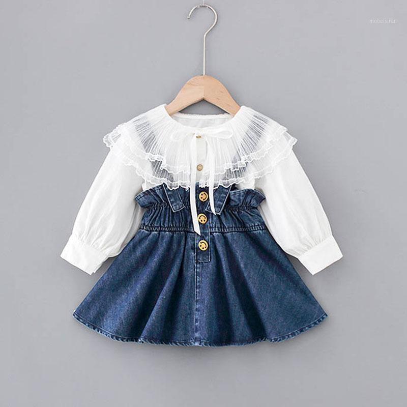 1-5Y Kinder Baby Mädchen Kleidung Anzüge Prinzessin Kinder Mädchen Outfits Frühling Bluse Tops Overalls Strap Denim Kleid Mädchen Set1