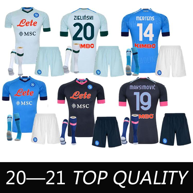 2020 2021 Serie A Nápoles Napoli Futebol Jerseys Maradona Home Away Terceiro Futebol Camisa 20 21 Insigne Lozano Calefón Milik Adulto + Kids Kit