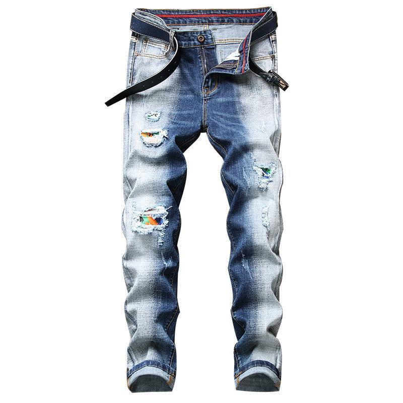 Mais novo denim homens individualidade calça alta rua moda estiramento rasgado jeans hombre patchwork jeans dois tons calças spled