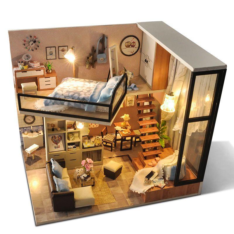 CuteBee diy منزل خشبي دمية المنازل مصغرة دمية الأثاث كيت مع أدى لعب للأطفال هدية عيد TD16 Y1201