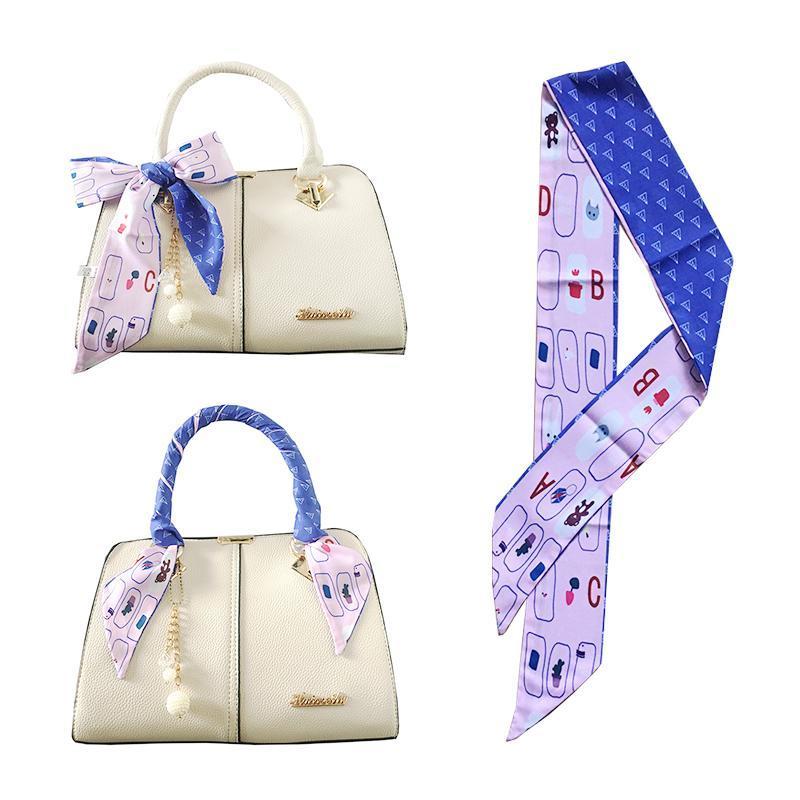 Nuevas mujeres corbata cuello cinta bufanda linda animal letra letra doble color cuello cuello de la banda de pelo manija envuelve pequeñas bufandas delgadas