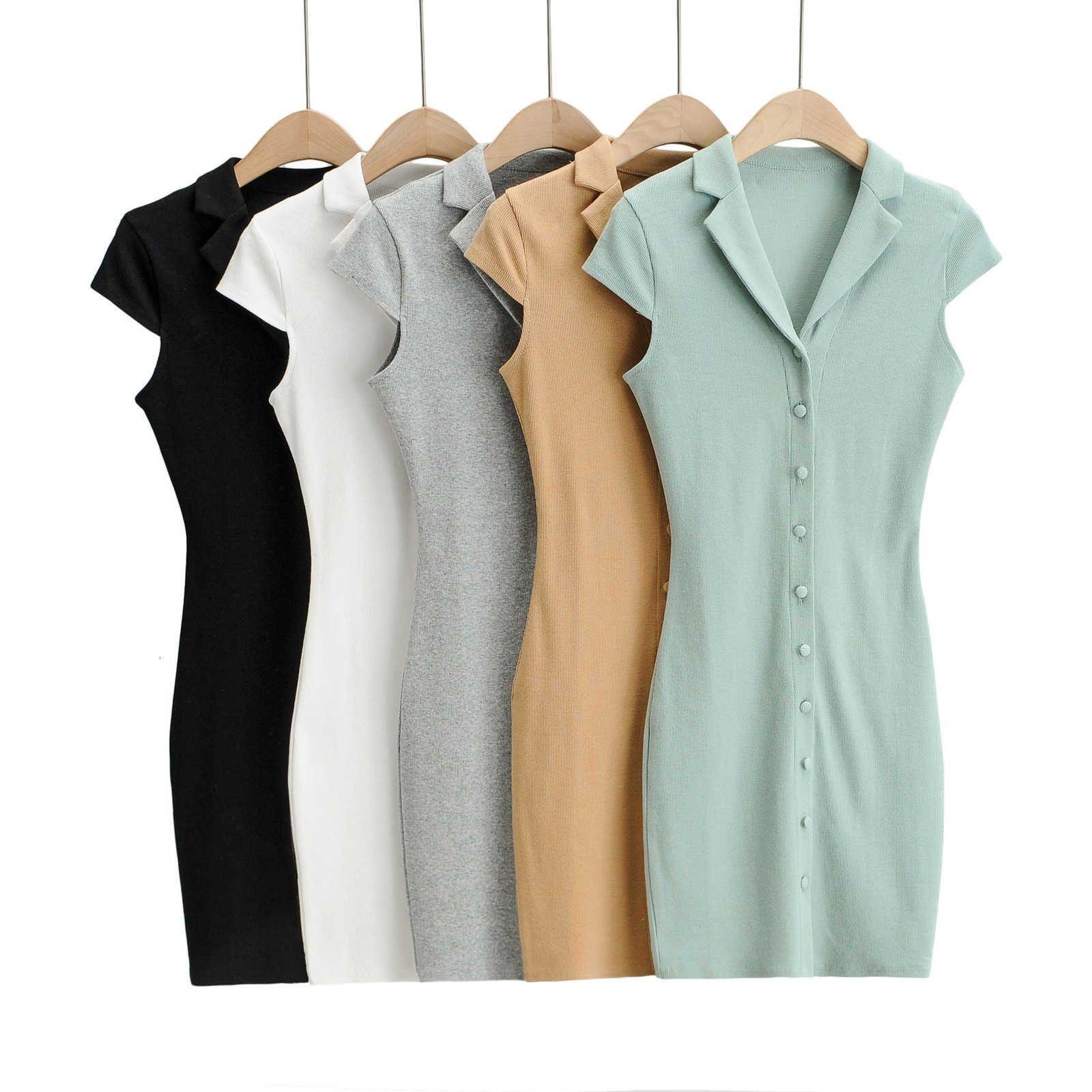 Spring and Summer Femmes enveloppe d'épaule épaule à manches courtes à manches courtes minces jupe boutonnées coton