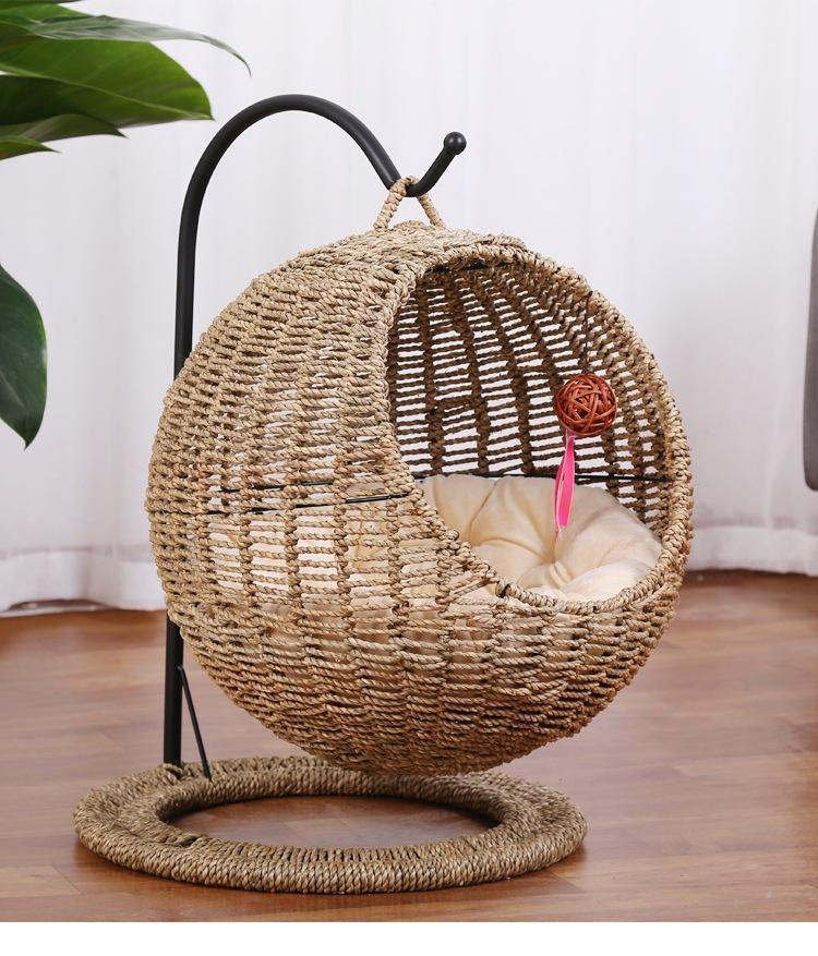 Ratán Circular algas marinas Cat's Nest Hammock Caging Cause Cat Cat House Bed Swing Accesorios PET Supplies1